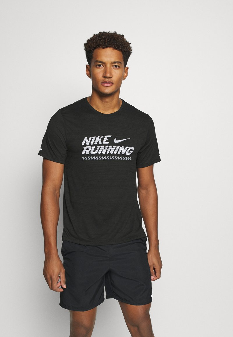 Nike Performance - MILER  - Print T-shirt - black/white
