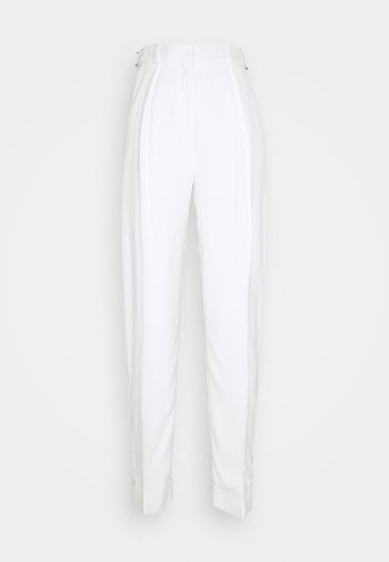 BASKET WEAVE TAPERED TROUSERS - Kalhoty - clotted cream