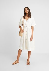 Miss Selfridge - PINTUCK BUTTON THROUGH MIDI DRESS - Robe chemise - ivory - 1