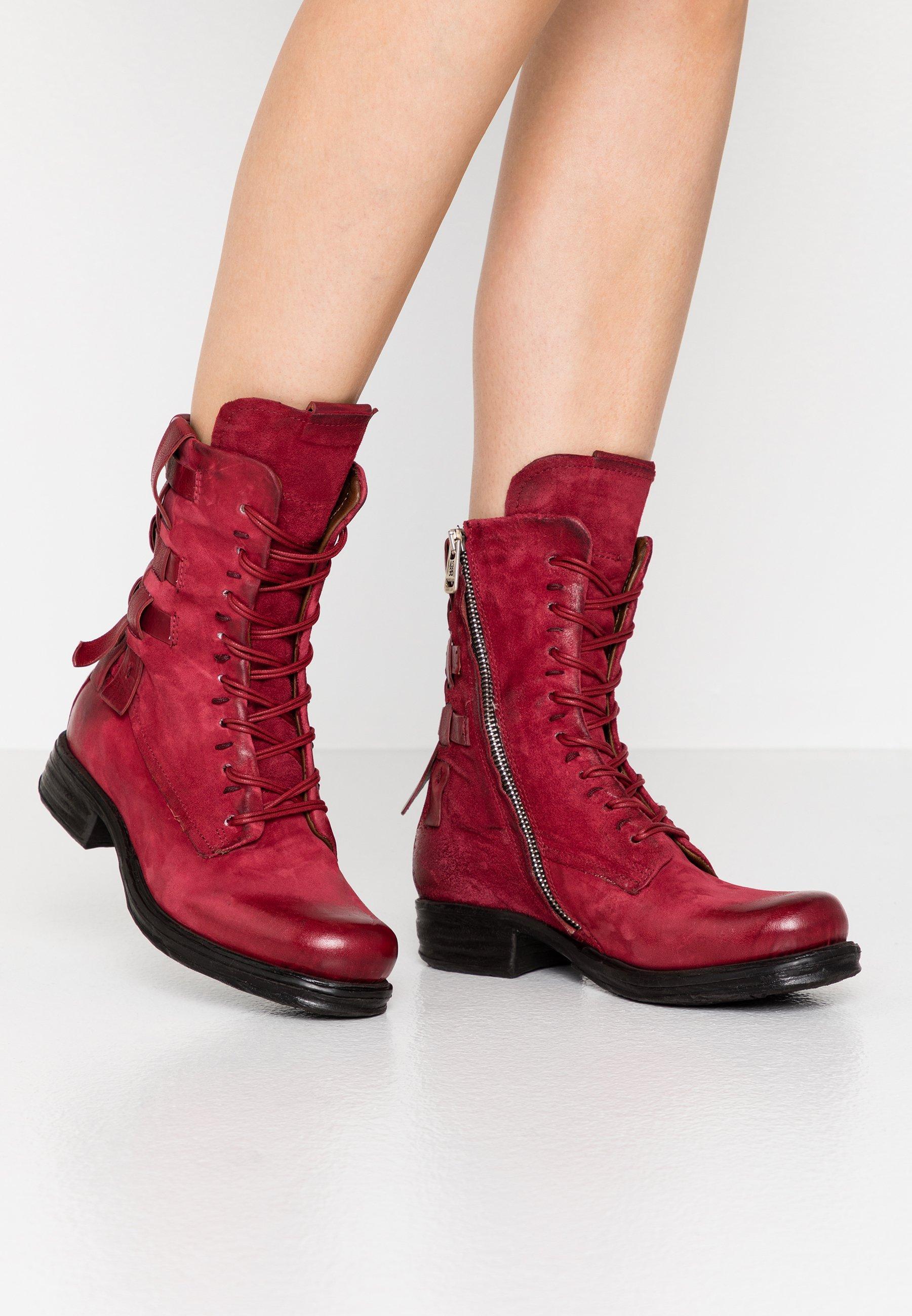 A.s.98 Cowboy/biker Ankle Boot - Cardinal