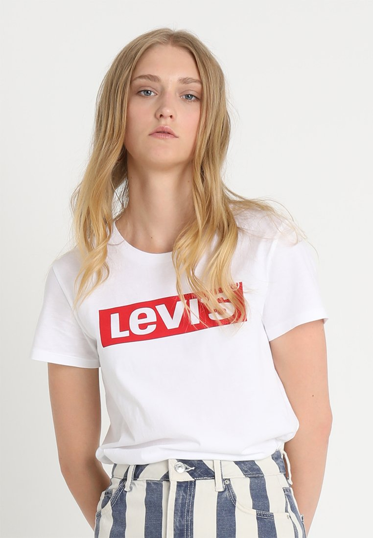 Levi's® - THE PERFECT TEE - Printtipaita - white/red