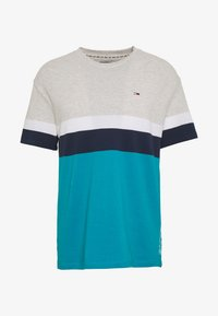 Tommy Jeans - GRAPHIC COLORBLOCK TEE - Print T-shirt - pale grey heather/multi - 4