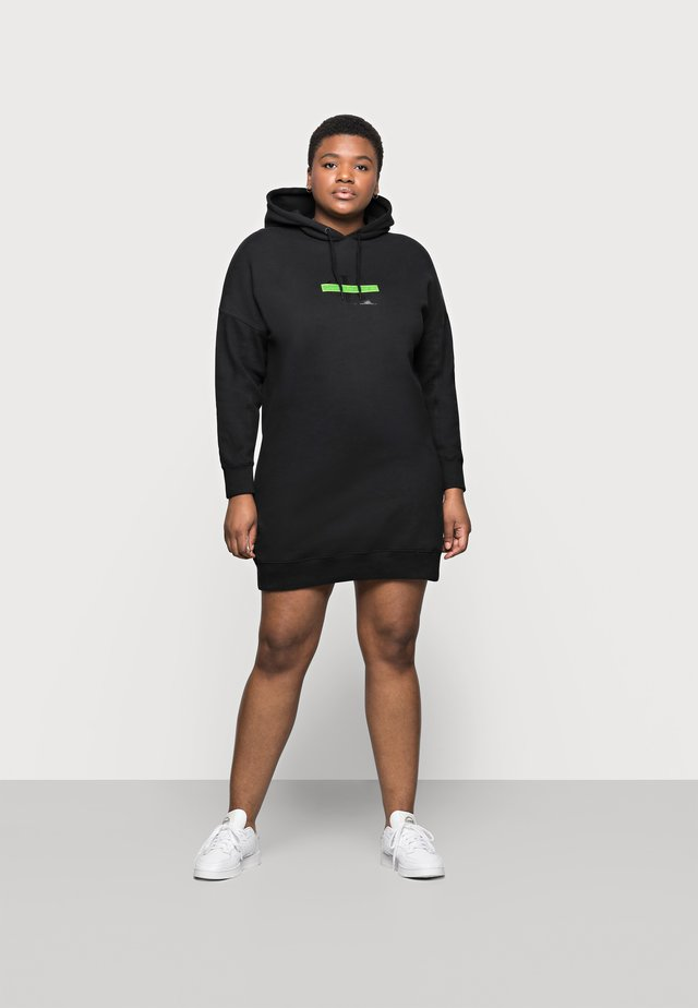 CENSORED HOODIE DRESS - Korte jurk - black