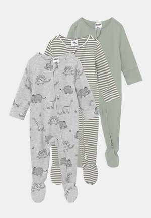 LONG SLEEVE 3 PACK UNISEX - Sleep suit - stone green/silver sage