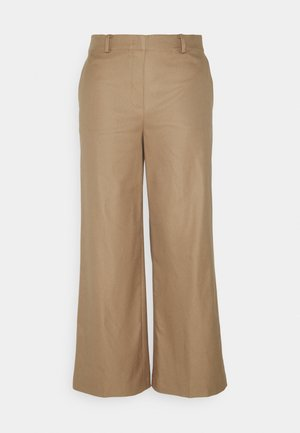 PANTS WIDE LEG MEDIUM RISE CROPPED ELASTIC AT BACK  - Trousers - sand