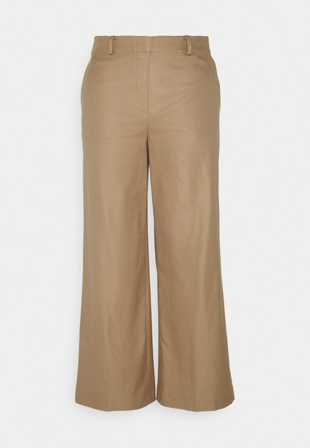 PANTS WIDE LEG MEDIUM RISE CROPPED ELASTIC AT BACK  - Pantalones - sand