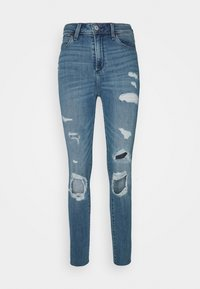 Abercrombie & Fitch - KNEE BLOWOUT CURVE - Jeans Skinny Fit - medium indigo - 4