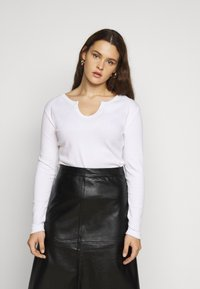 Missguided Plus - NOTCH NECK TEE 2 PACK - Long sleeved top - white - 1