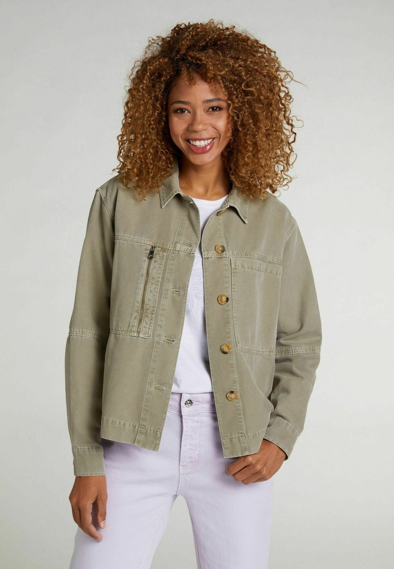 Oui - Denim jacket - khaki