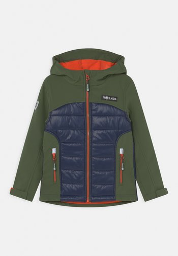 LYSEFJORD UNISEX - Soft shell jacket - forest green/navy/flame orange