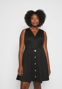Simply Be - WRAP PINAFORE DRESS - Žerzejové šaty - black - 0