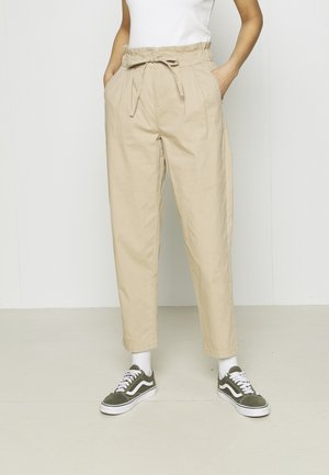 VMEVANY LOOSE STRING ANKLE PANTS - Trousers - beige
