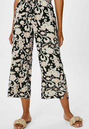 Trousers - black / beige