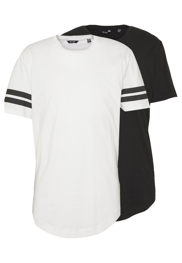 ONSMATT LONGY SOLID STRIPE 2 PACK - T-shirt print - black/white