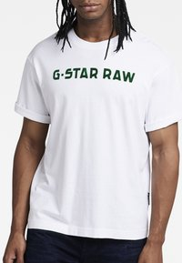 G-Star - FLOCK BOXY R T UNISEX  - Print T-shirt - dry jersey o white - 4