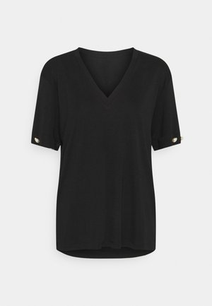 V NECK WITH BAR SLEEVE - T-shirt basique - black