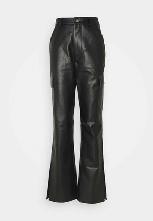 CARGO SIDE SPLIT LEG TROUSER - Tygbyxor - black