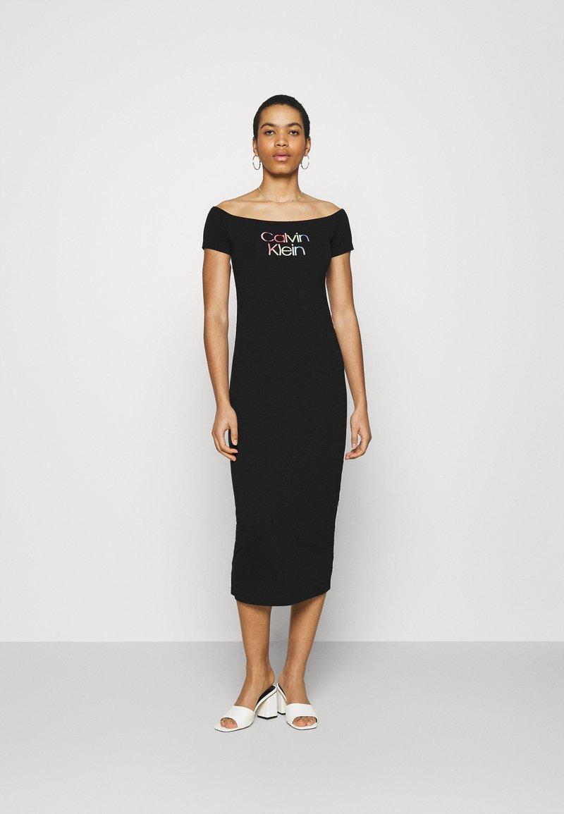 Calvin Klein - BARDOT PIPING DRESS - Maxi-jurk - black