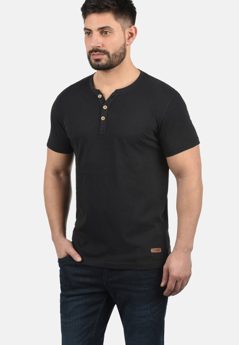 Solid - VOLKER - Basic T-shirt - black