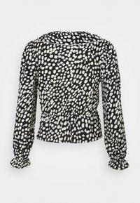 Dorothy Perkins Petite - MONO SPOT RUFFLE FRONT SHIRED WAIST FAUCHETTE - Long sleeved top - black - 1
