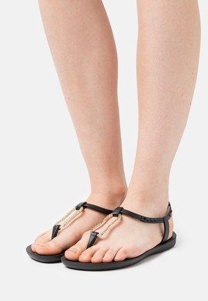 MOOD FEM - T-bar sandals - black/gold
