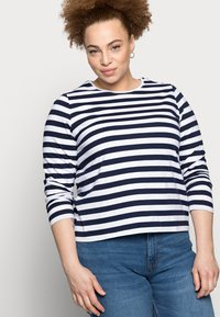 Pieces Curve - PCRIA NEW TEE - Long sleeved top - bright white/maritime navy - 3