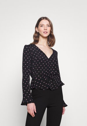 DITSY RUCHED FRONT BLOUSE - Camicetta - black