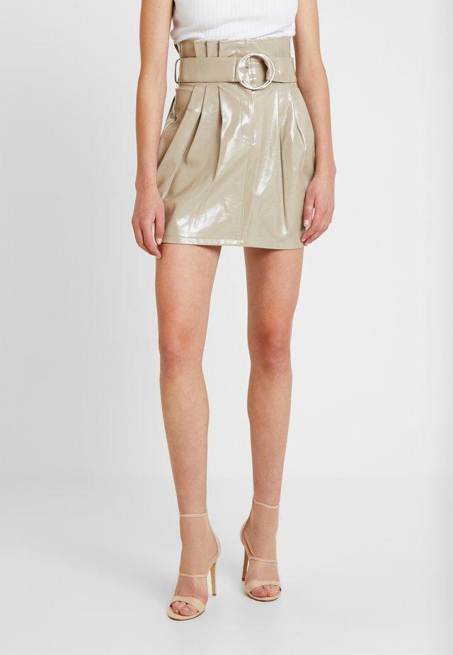 SADIE - A-line skirt - mocha patent