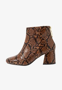 Miss Selfridge Wide Fit - WIDE FIT BRIXTON ZIP BACK SQUARE TOE - Ankle boots - brown - 1