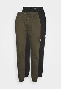 PANT MULTI 2 PACK - Cargo trousers - black/ khaki