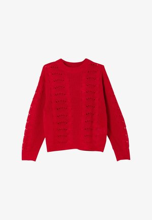 MIT AJOUR-STRICKMUSTER - Jumper - red