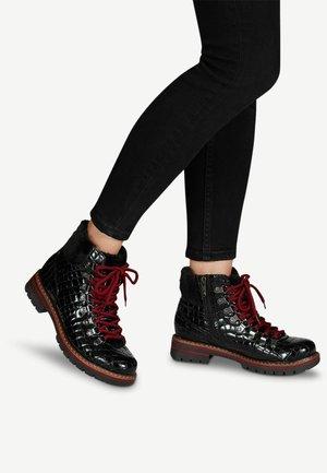 Lace-up ankle boots - black cro.pat.
