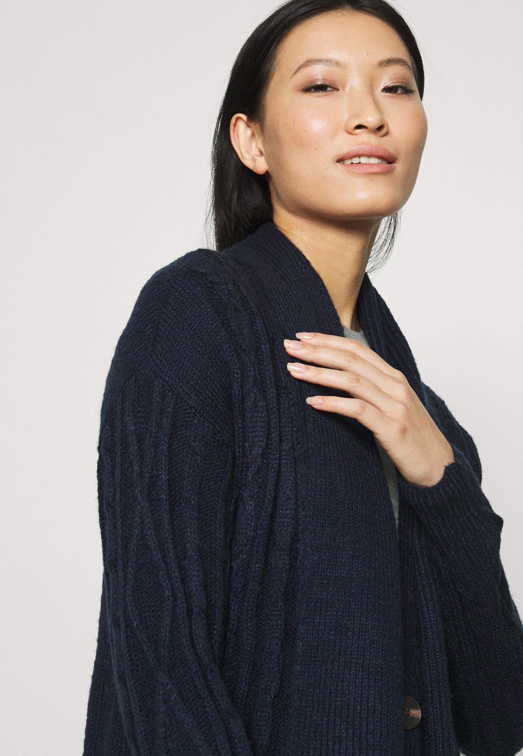 Who What Wear Scarf Cable Cardigan - Midnight/blå