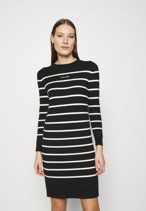 STRIPE LOGO DRESS - Jumper dress - black