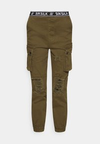 SIKSILK - DISTRESSED - Tracksuit bottoms - khaki