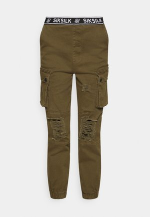 DISTRESSED - Tracksuit bottoms - khaki
