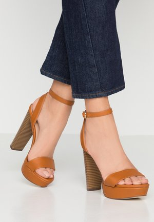HAAUDIA VEGAN - High heeled sandals - cognac