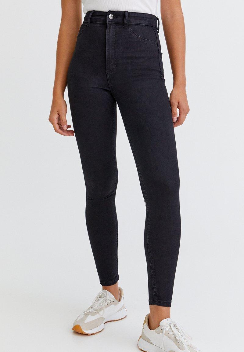 PULL&BEAR - Skinny džíny - mottled black