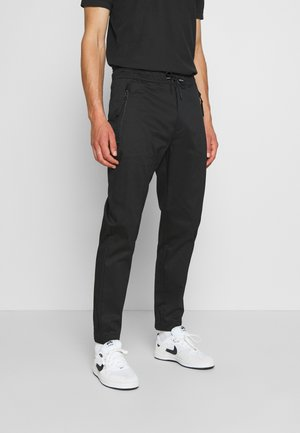 TAPERED ELASTIC PANT - Stoffhose - black