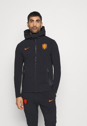 NIEDERLANDE KNVB HOODIE  - veste en sweat zippée - black/safety orange