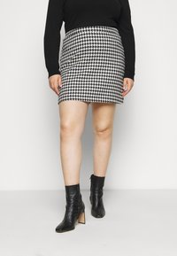 Simply Be - HOUNDSTOOTH MINI SKIRT - Mini skirt - black/white - 0