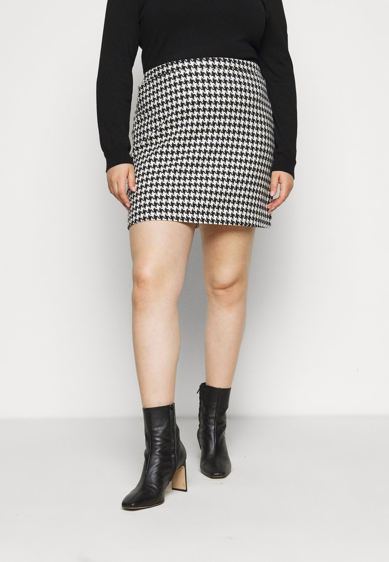 Simply Be - HOUNDSTOOTH MINI SKIRT - Mini skirt - black/white