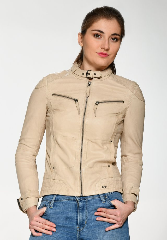 RYANA - Leather jacket - beige