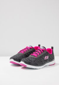 Skechers Wide Fit - FLEX APPEAL 3.0 - Trainers - black/charcoal/hot pink - 4