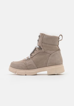Lace-up ankle boots - beige
