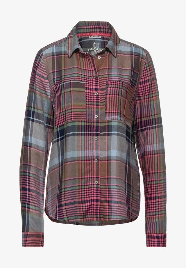 MIT KAROMUSTER - Button-down blouse - grün