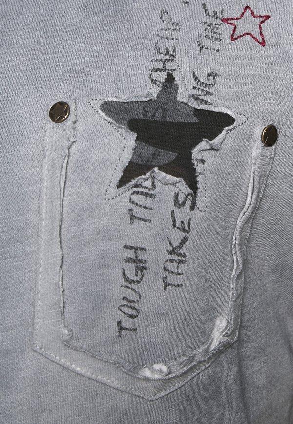 Key Largo NASHVILLE ROUND - T-shirt z nadrukiem - silver/szary Odzież Męska RWEC