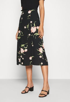 FLORAL SIDE SPLIT MIDI SKIRT - Falda acampanada - black