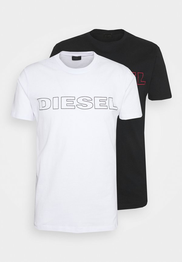 Diesel 2 PACK - T-shirt z nadrukiem - black/white/czarny Odzież Męska LVWP