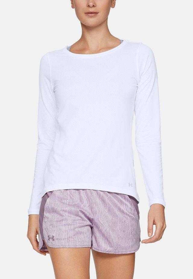 UA ARMOUR LONG SLEEVE - Long sleeved top - white